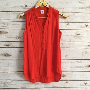 CAbi Red Plaza Sleeveless Top Style #5113 Size XS